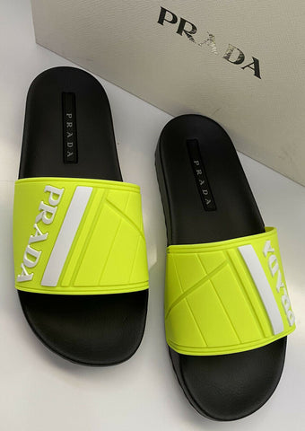 NIB $480 Prada Mens Rubber Sandals Neon Yellow 10 US 4X3204