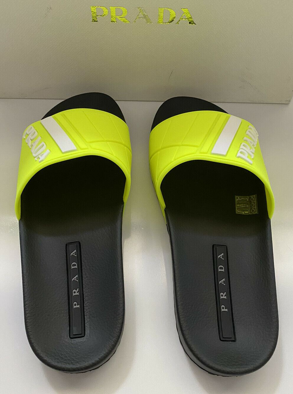 NIB $480 Prada Mens Rubber Sandals Neon Yellow 9 US 4X3204