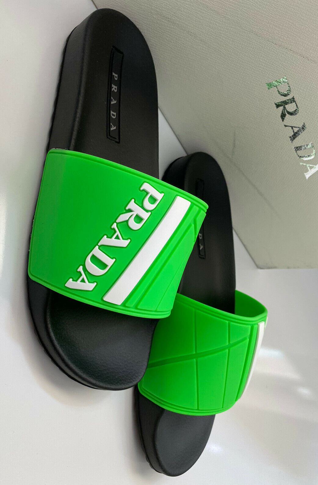 NIB $480 Prada Mens Rubber Sandals Neon Green 10 US 4X3204
