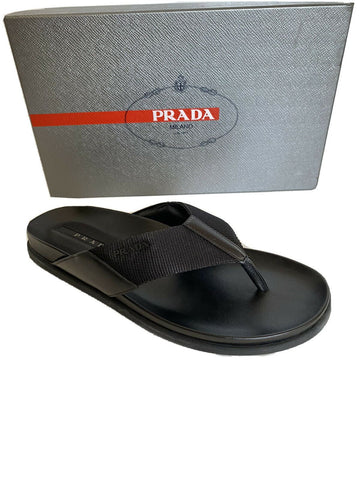 NIB Prada Milano Mens Flip Flop Logo Sandals Shoes Black 9 US 4Y3208