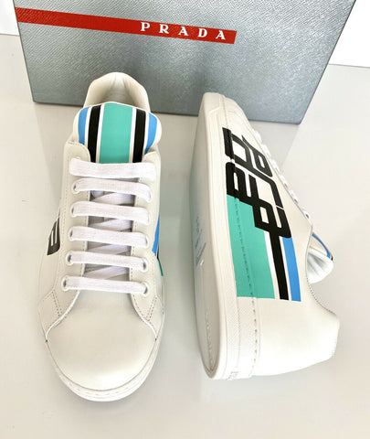 NIB PRADA Mens Graphic Logo White Leather Sneakers 9.5 US Prada 8.5 4E3409 Italy