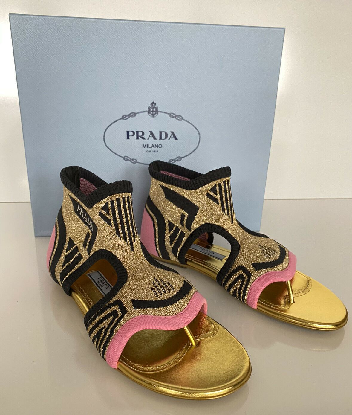 NIB PRADA Milano Womens Pink & Purple Thong Knit In Nylon Flats 38.5 1Y442L