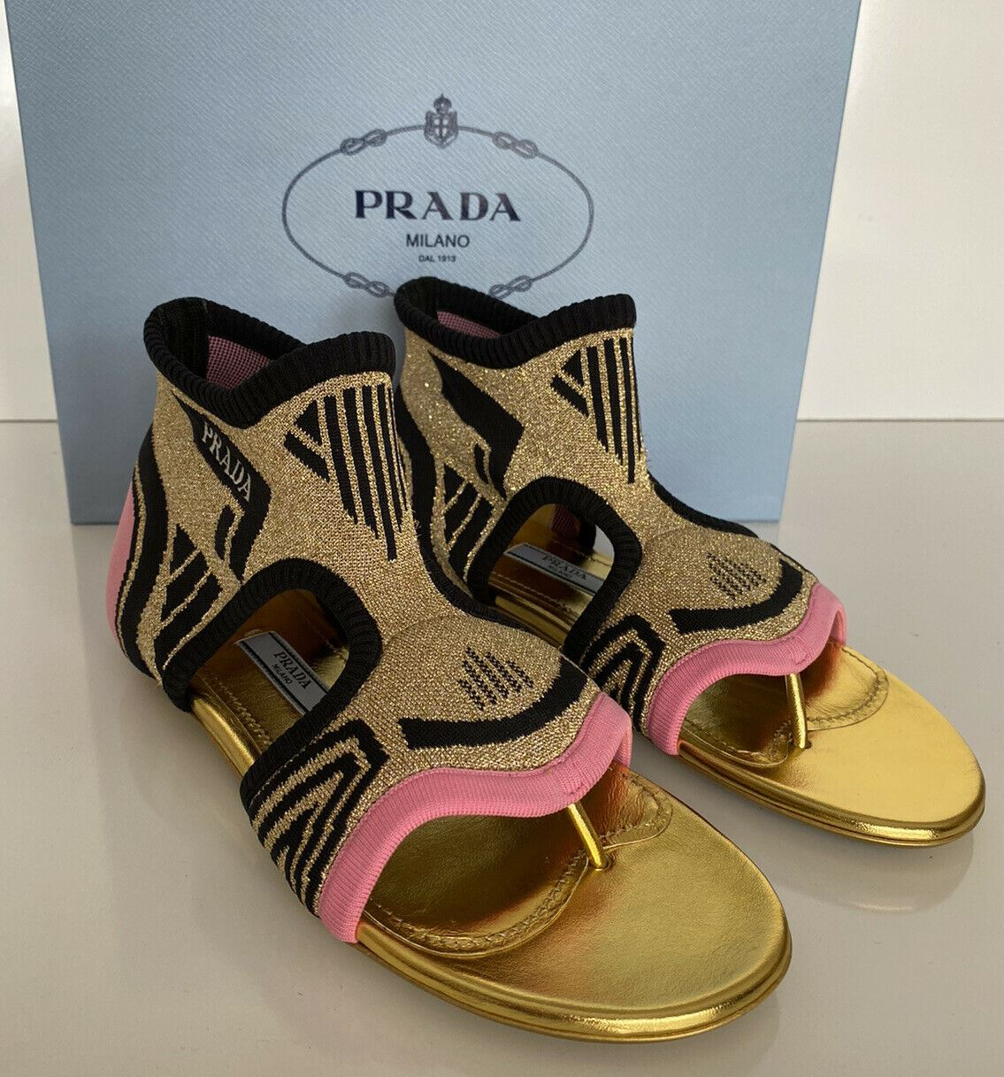 NIB PRADA Milano Womens Pink & Purple Thong Knit In Nylon Flats Sandal 36 1Y442L