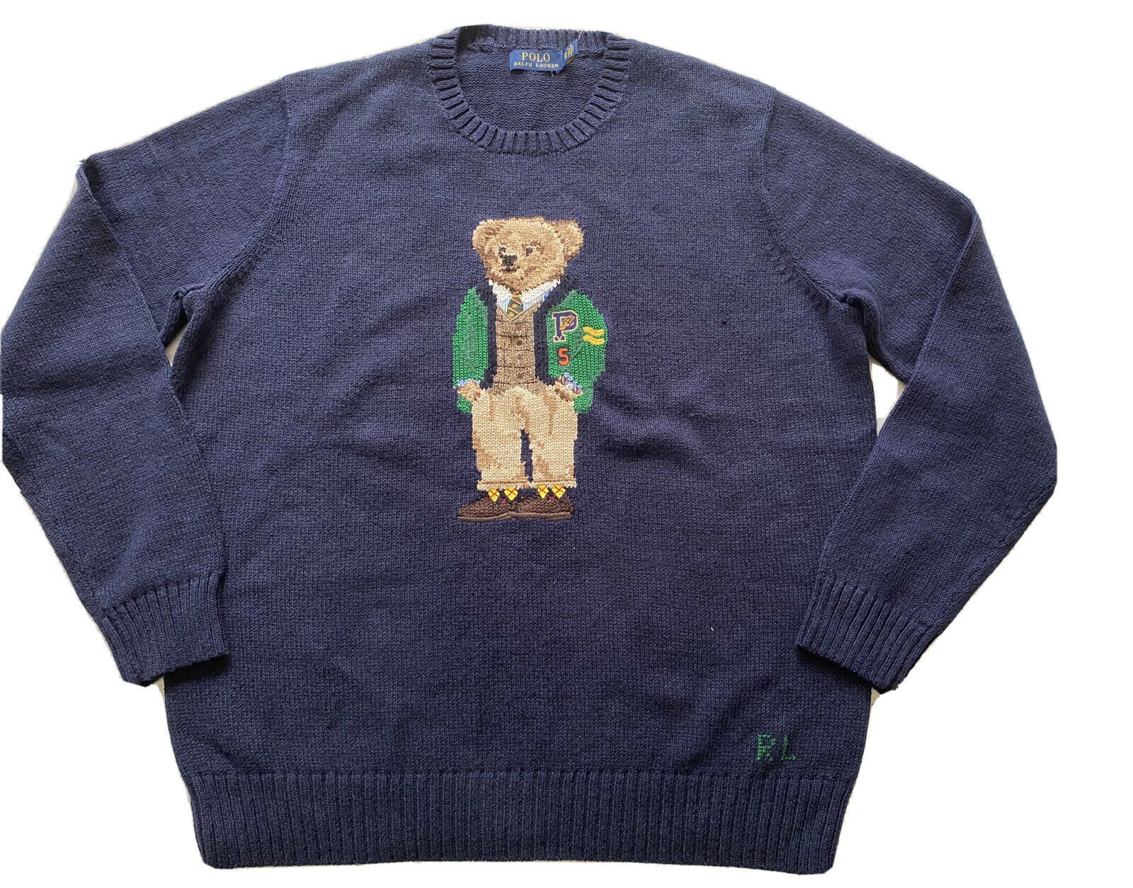 NWT $209 Polo Ralph Lauren Bear Cotton Crewneck Sweater Navy Blue Big &Tall XLT