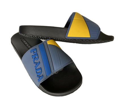 NIB Prada Mens Rubber Sandals Neon Blue/Yellow 9 US 4X3204 Made in Italy