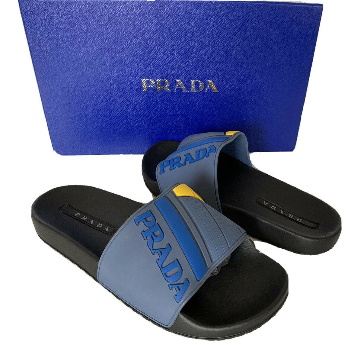 NIB Prada Mens Rubber Sandals Neon Blue/Yellow 12 US 4X3204 Made in Italy