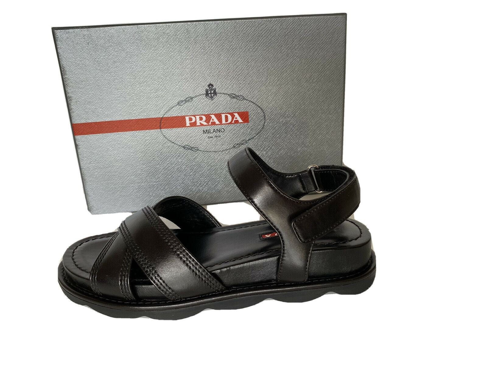 NIB $560 PRADA Women's Black Open Toe Leather Sandals 7.5 US (37.5 Euro) 3X6289