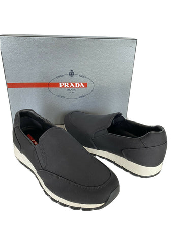 NIB PRADA Men's Nylon Tech Black Slip On Sneakers 4D2805  8 US (Prada 7)