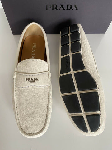NIB PRADA Men's Leather Loafer White Driver Shoes 10 US (Prada 9) 2DD165 IT