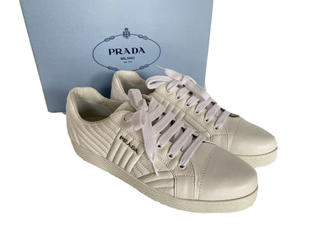 NIB 725$ PRADA Milano Women's Quilted Leather Logo Sneakers Size 40 EU Italy