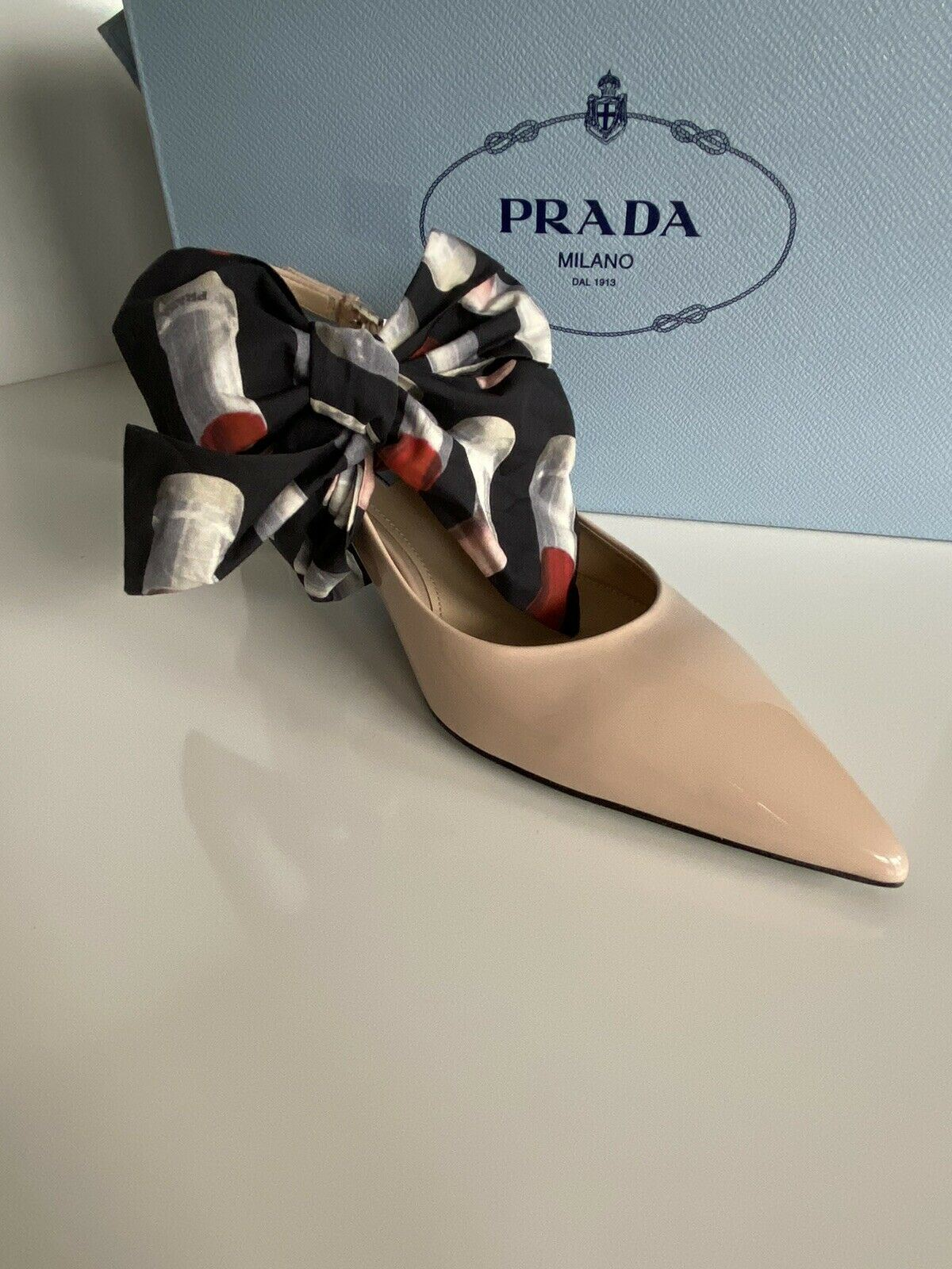 NIB Prada MILANO Women's Leather Beige Shoes 8 US (38 Eu) Italy 1I758I