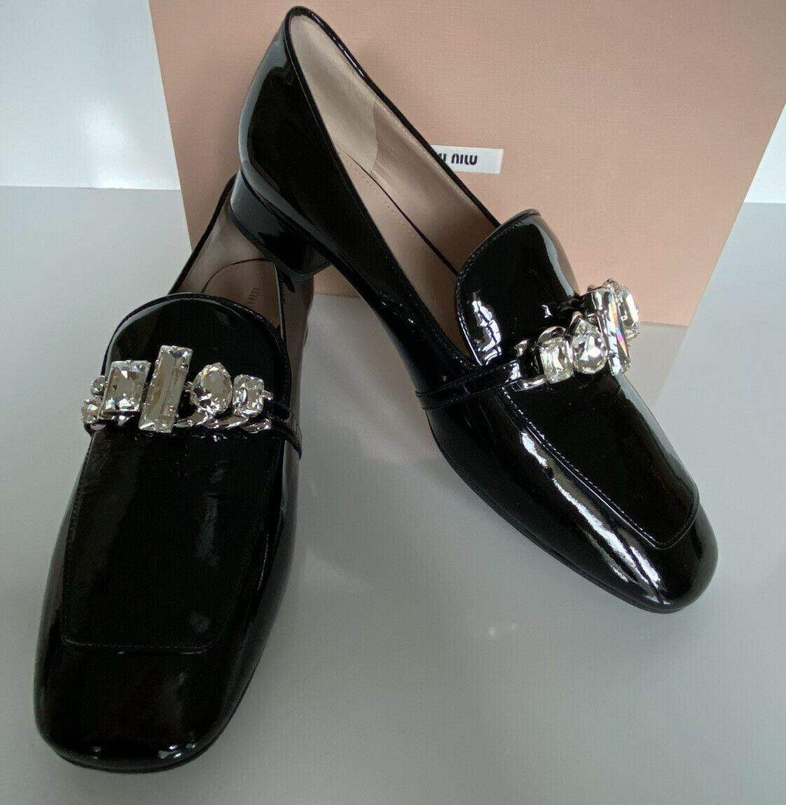 NIB PRADA Miu Miu Women's Black Leather Jeweled Loafers 37 5d224C Made in Italy