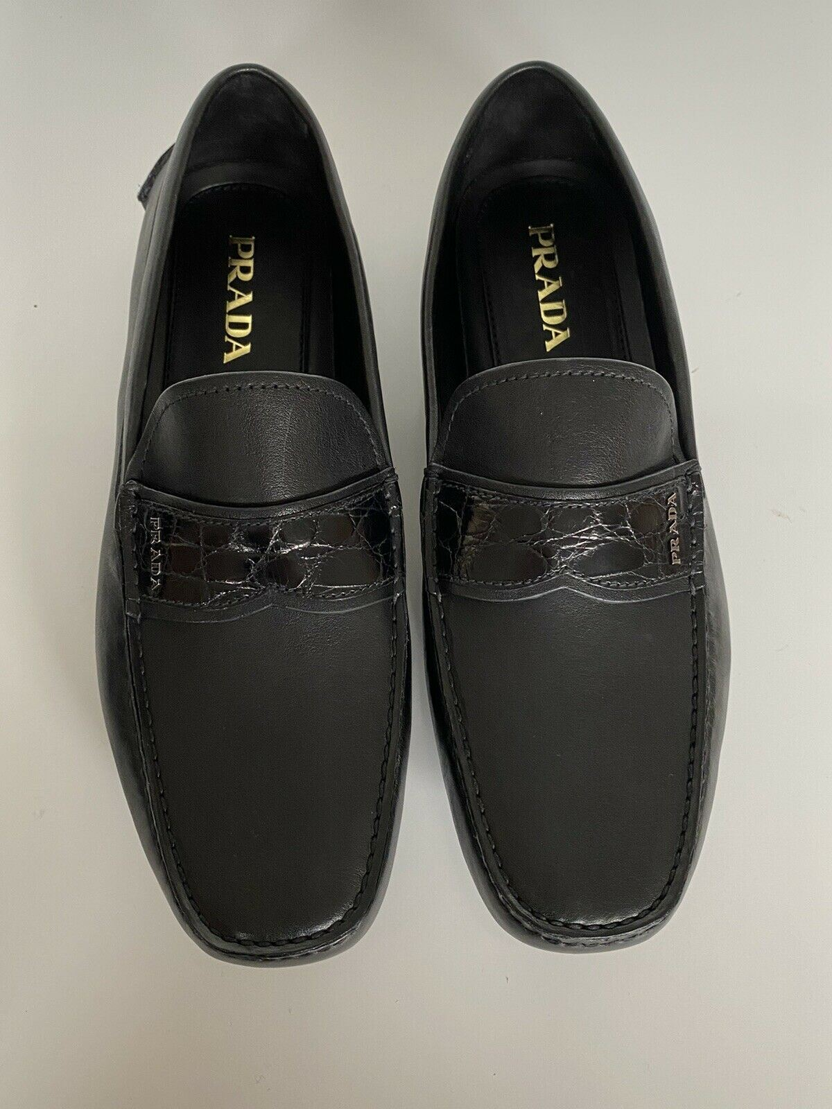 NIB PRADA Men's Leather Loafer Driver Shoes Black 12.5 US (Prada 11.5) IT 2DD141