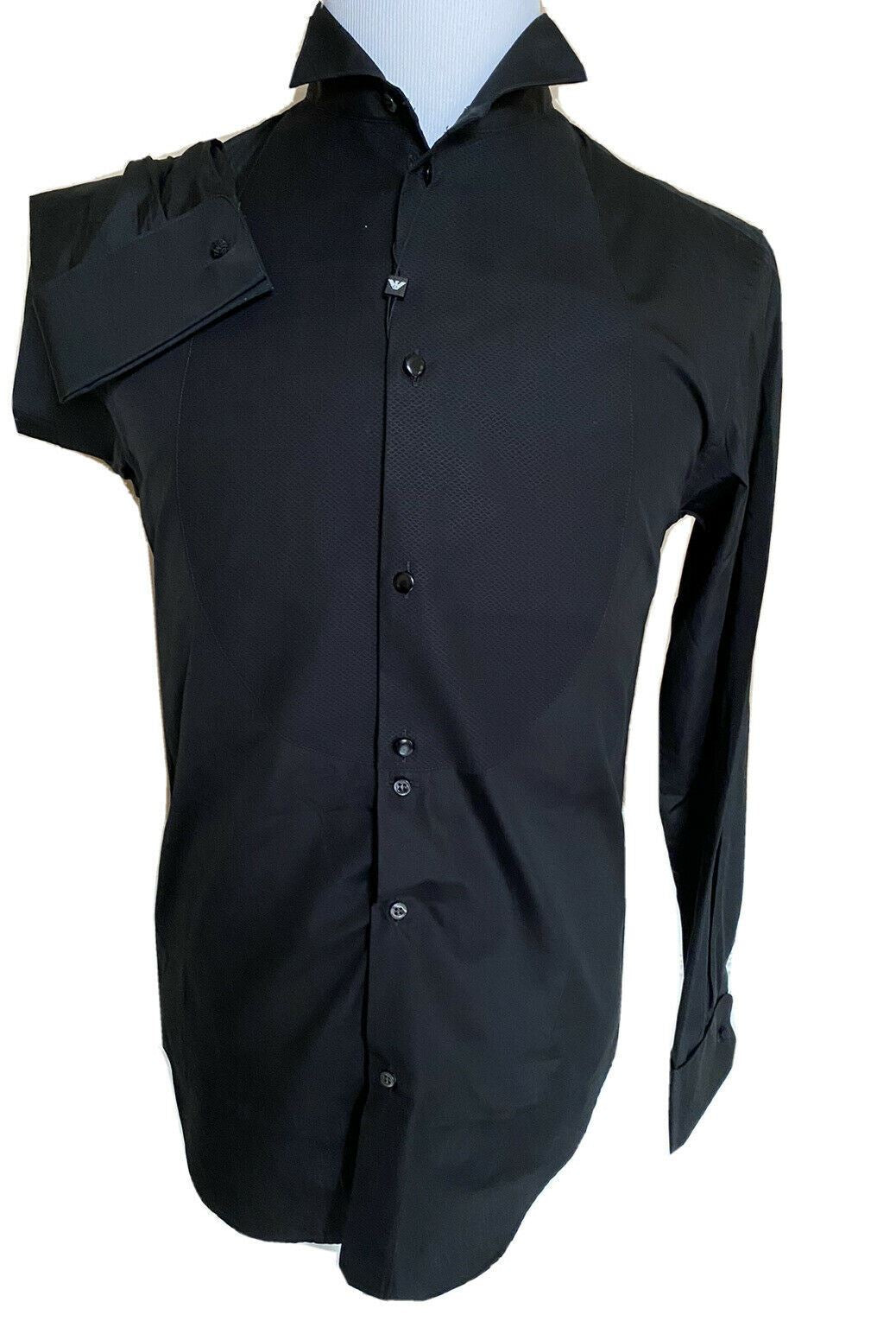 NWT $525 Emporio Armani Korean-Necked Black Dress Shirt  Size 40/15.75 11CS3T