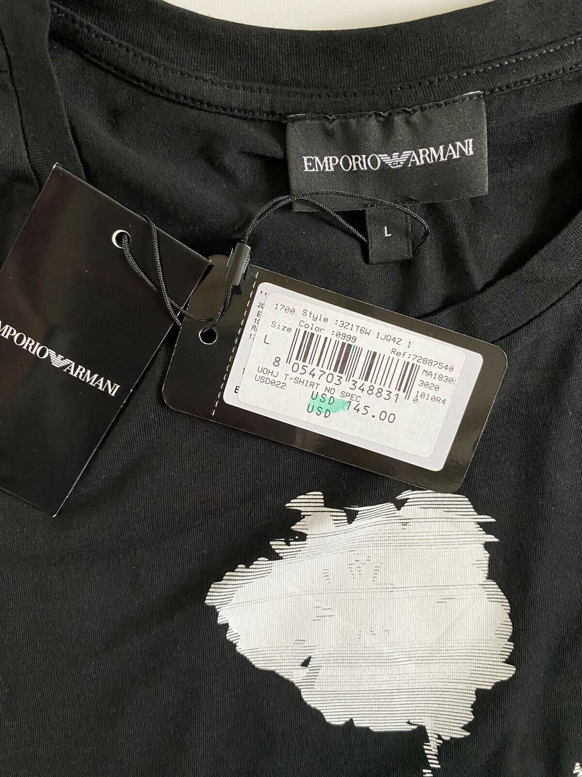 NWT $145 Emporio Armani Men's Black Graphic Short Sleeve T-Shirt Large 3Z1T6W