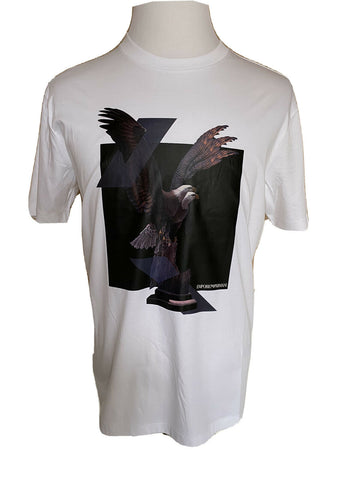 NWT $225 Emporio Armani White Short Sleeve Eagle Graphic T-Shirt 3XL 3G1T70