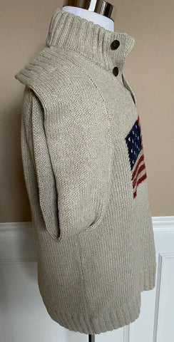 NWT $149 Polo Ralph Lauren Mens Beige Knit Cotton/Linen US Flag RL 67 Sweater M
