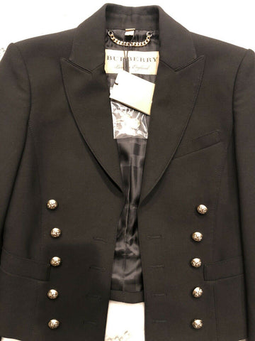 NWT $1395 Burberry London Double-Breasted Black Womens Jacket 2 USA (36 EU )