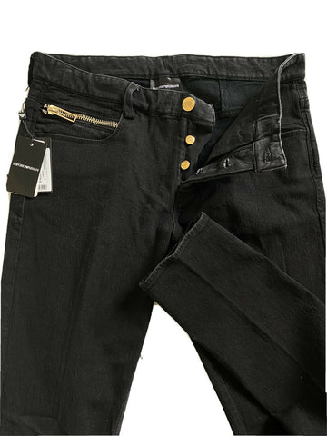 NWT $345 Emporio Armani Mens Skinny Fit Black Jeans Gold Series 34 US 3G1J09