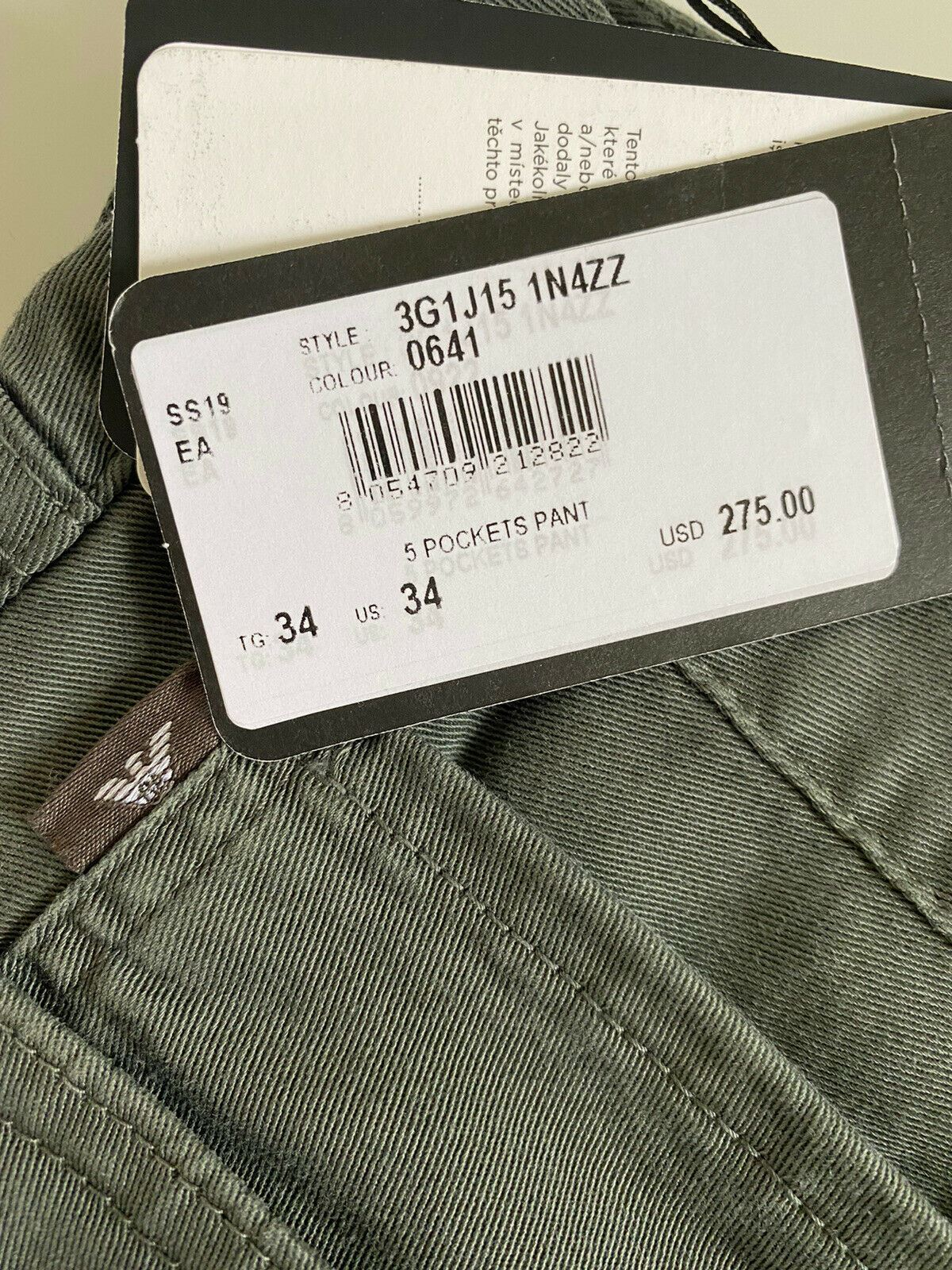 NWT $275 Emporio Armani J15 Regular Fit Green Jeans 3G1J15 34 US