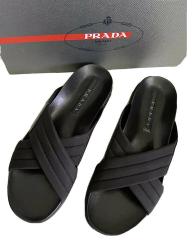 NIB $670 Prada Milano Cross Strap Mens Leather Sandal Shoes Black 7 US 4X3411