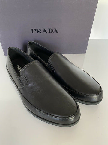 NIB PRADA Men's Black Leather Slip On Loafer Shoes 9 US (Prada 8) 4D3224