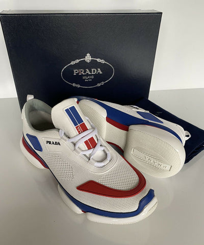 NIB PRADA Mens Knit Red/White/Blue Cloudburst Sneakers 9.5 US (Prada 8.5) 2EG253