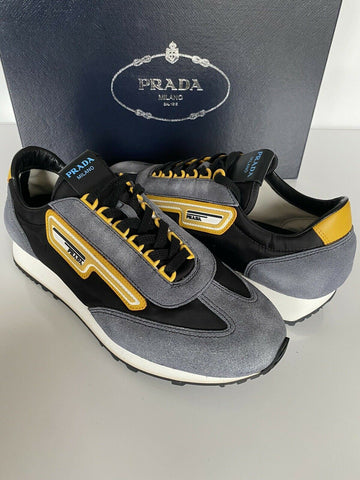 NIB PRADA Men's Blue Suede/Leather Sneakers 6 US (Prada 5) 2EG276 Made In Italy