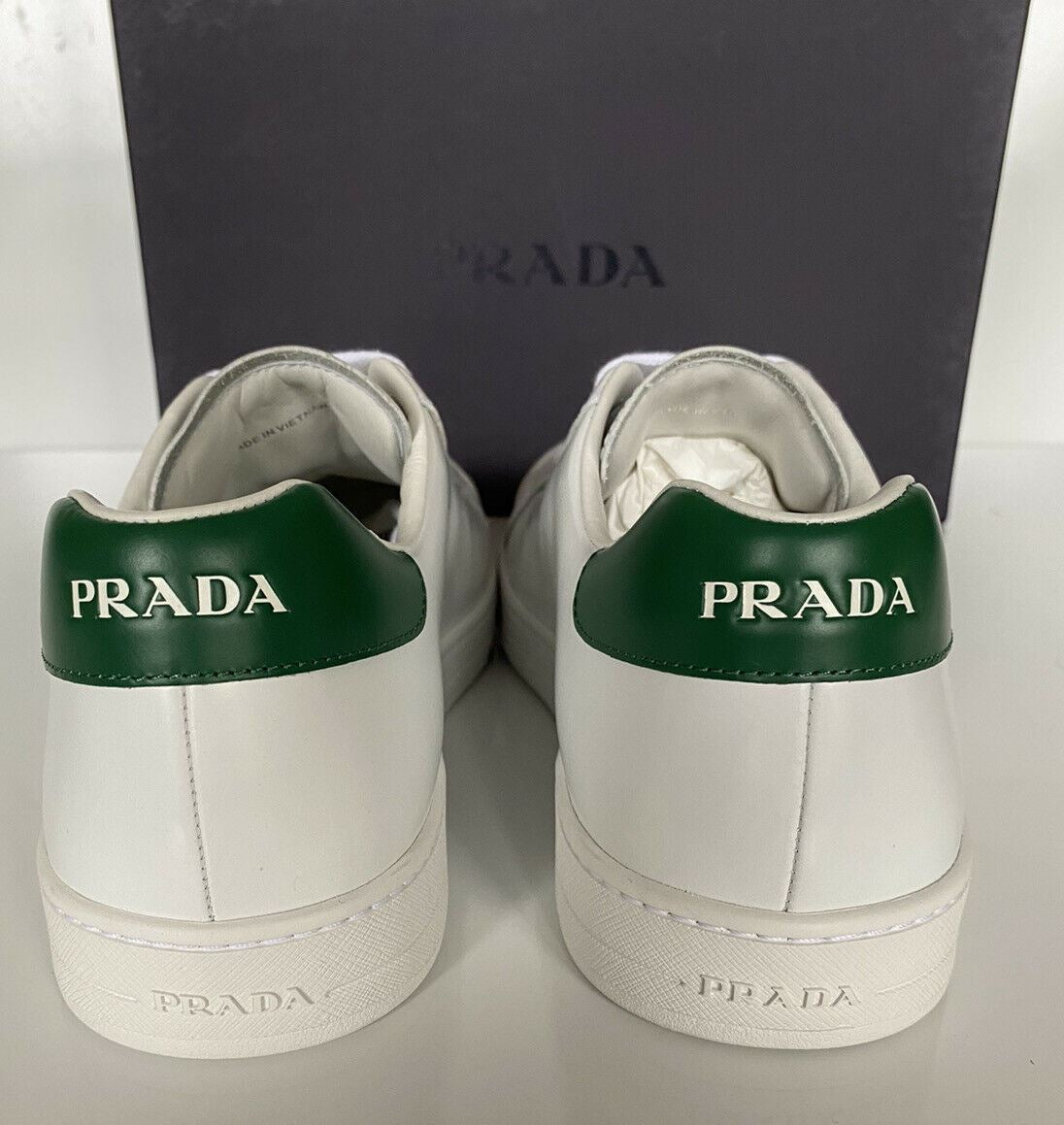 NIB PRADA Mens White Leather Sneakers 11 US (Prada 10) 4E3539