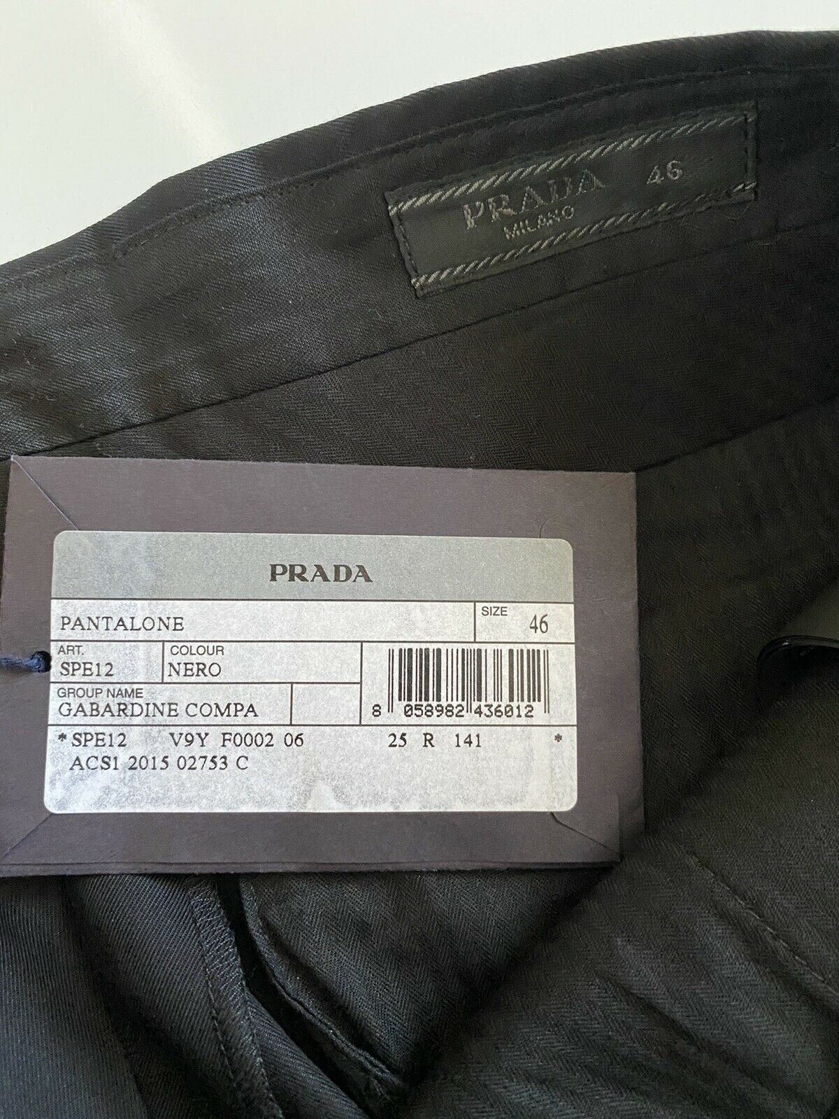 NWT Prada Men's Black Dress Pants 30 US ( 46 Eu) SPE12