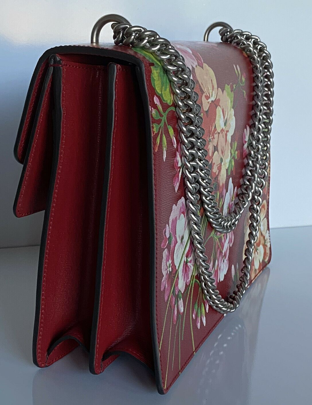 New Authentic Gucci Dionysus Shoulder Hand Bag Blooms Purse Medium Red Italy