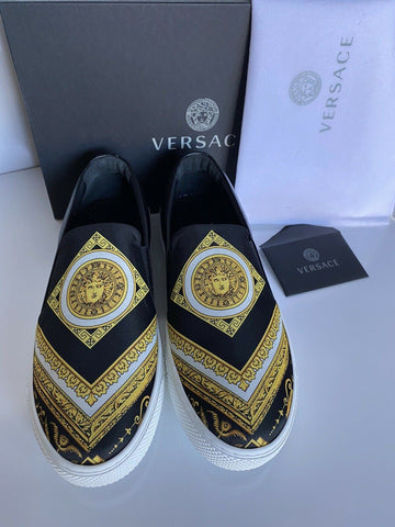 NIB VERSACE Baroque Print Slip-on Womens Black Sneakers SIZE 38 Made in Italy