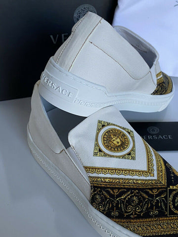NIB VERSACE Baroque Print Slip-on Womens White Sneakers SIZE 38 Made in Italy