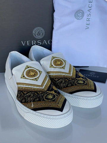NIB VERSACE Baroque Print Slip-on Womens White Sneakers SIZE 39 Made in Italy