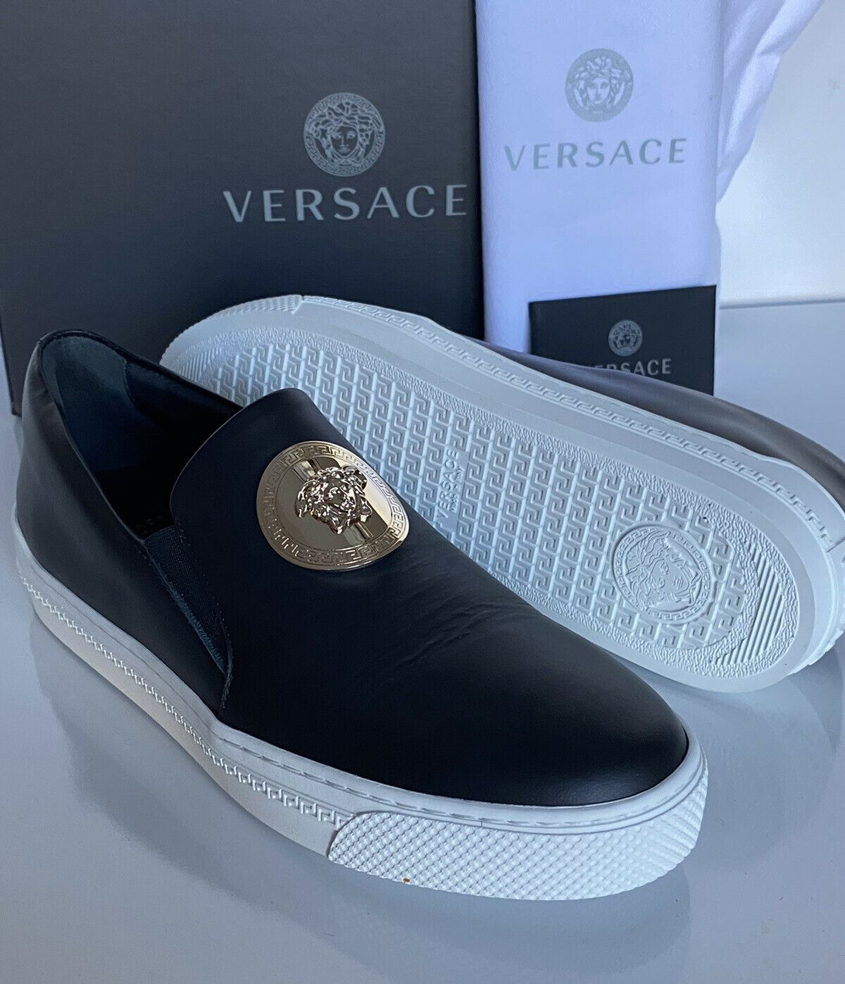 NIB VERSACE Slip-on Womens Black Leather Sneakers SIZE 9.5 US (39.5 EU) Italy