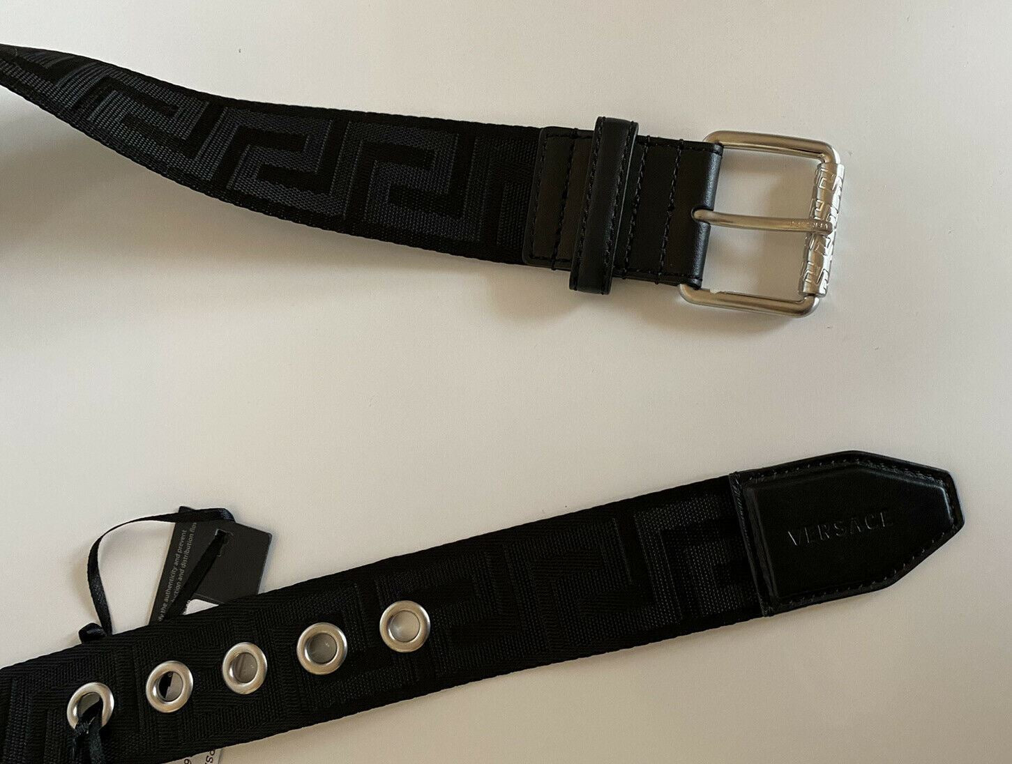 NWT $326 Versace Mens Fixed Length Belt Black 75/30 Made in Italy