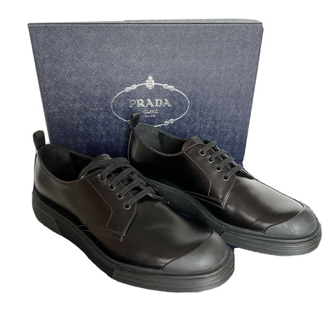 NIB $750 Prada Black Leather Rubber Sole Shoes 10 US (Prada 9)  2EE286 Italy