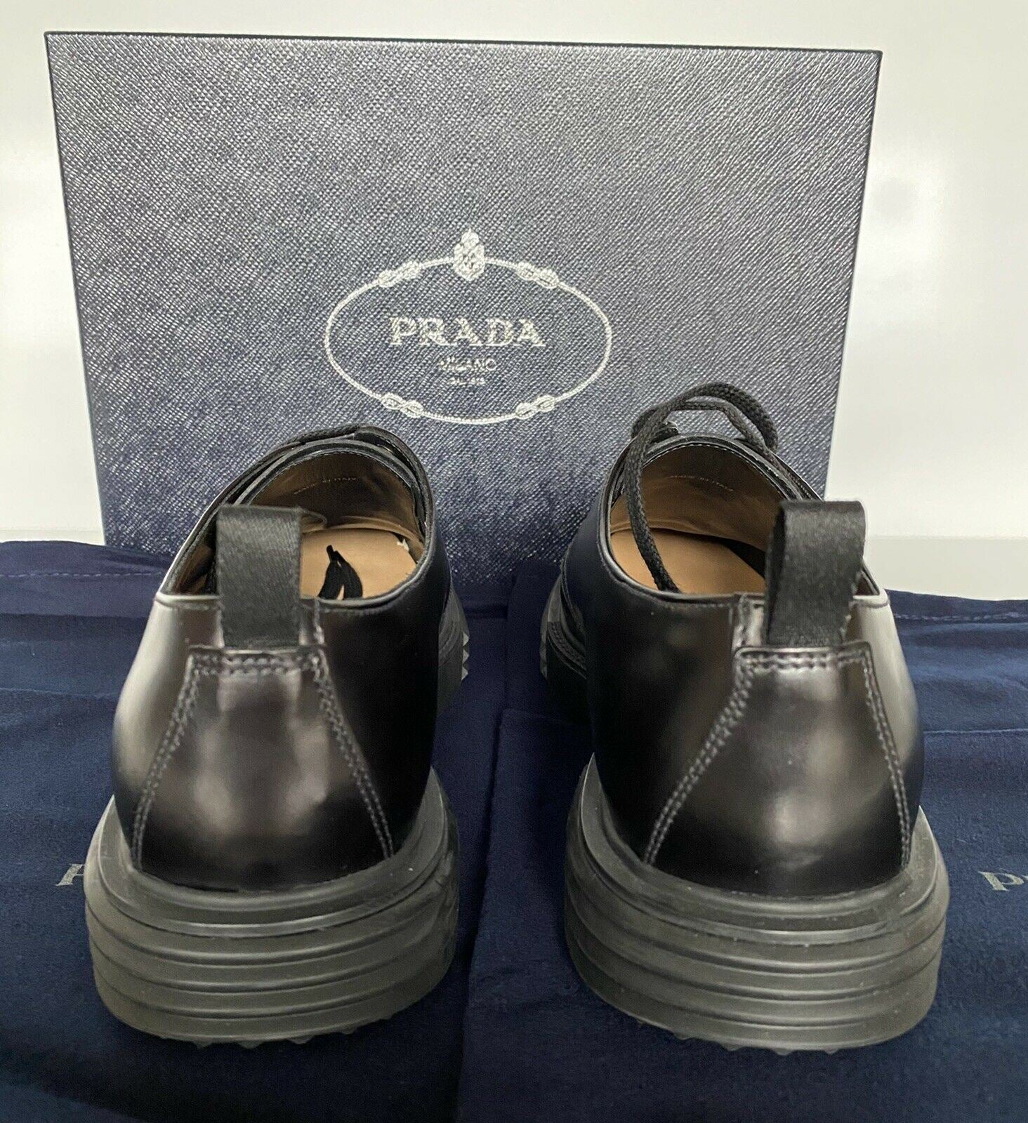NIB $750 Prada Black Leather Rubber Sole Shoes 11 US (Prada 10)  2EE286 Italy