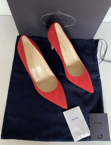 NIB Prada MILANO Women's Red Suede Pump Shoes 7.5 US (37.5 Eu) Italy 1I939F