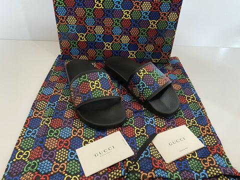 NIB Gucci Mens Rubber GG Psychedelic Logo Black Sandals 10 US Italy 610089