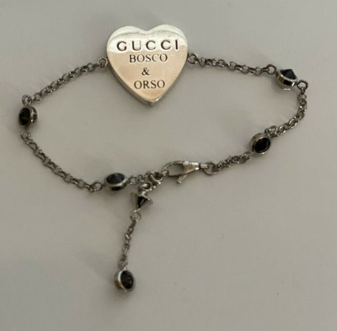 New Authentic GUCCI  SS Heart Silver Bracelet with Lucky 25 502461 IT