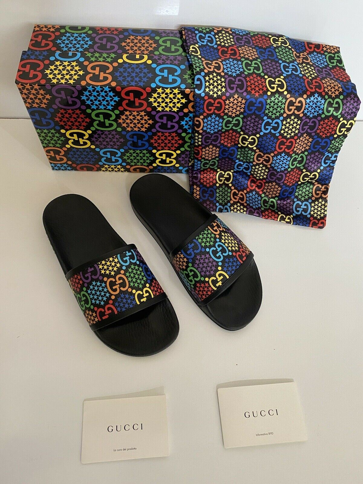 NIB Gucci Womens Rubber GG Psychedelic Logo Black Sandals 9 US 39 Eu IT 610090