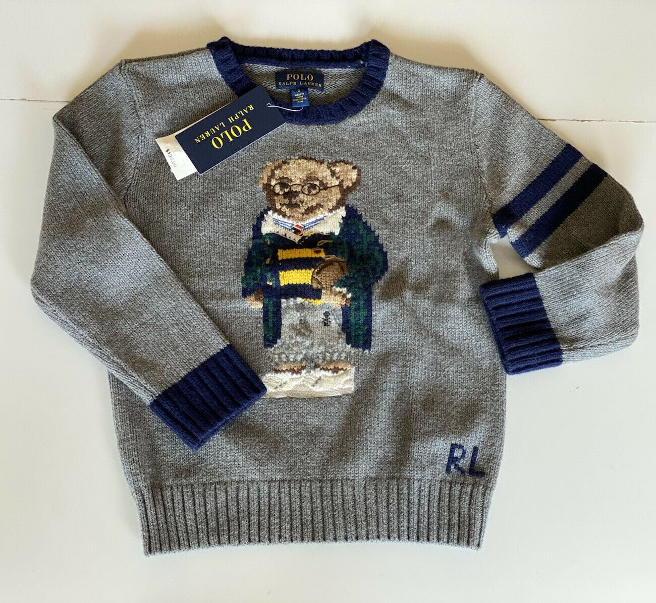 NWT $135 Polo Ralph Lauren Boys Bear Gray Cotton/Wool Sweater Size 6