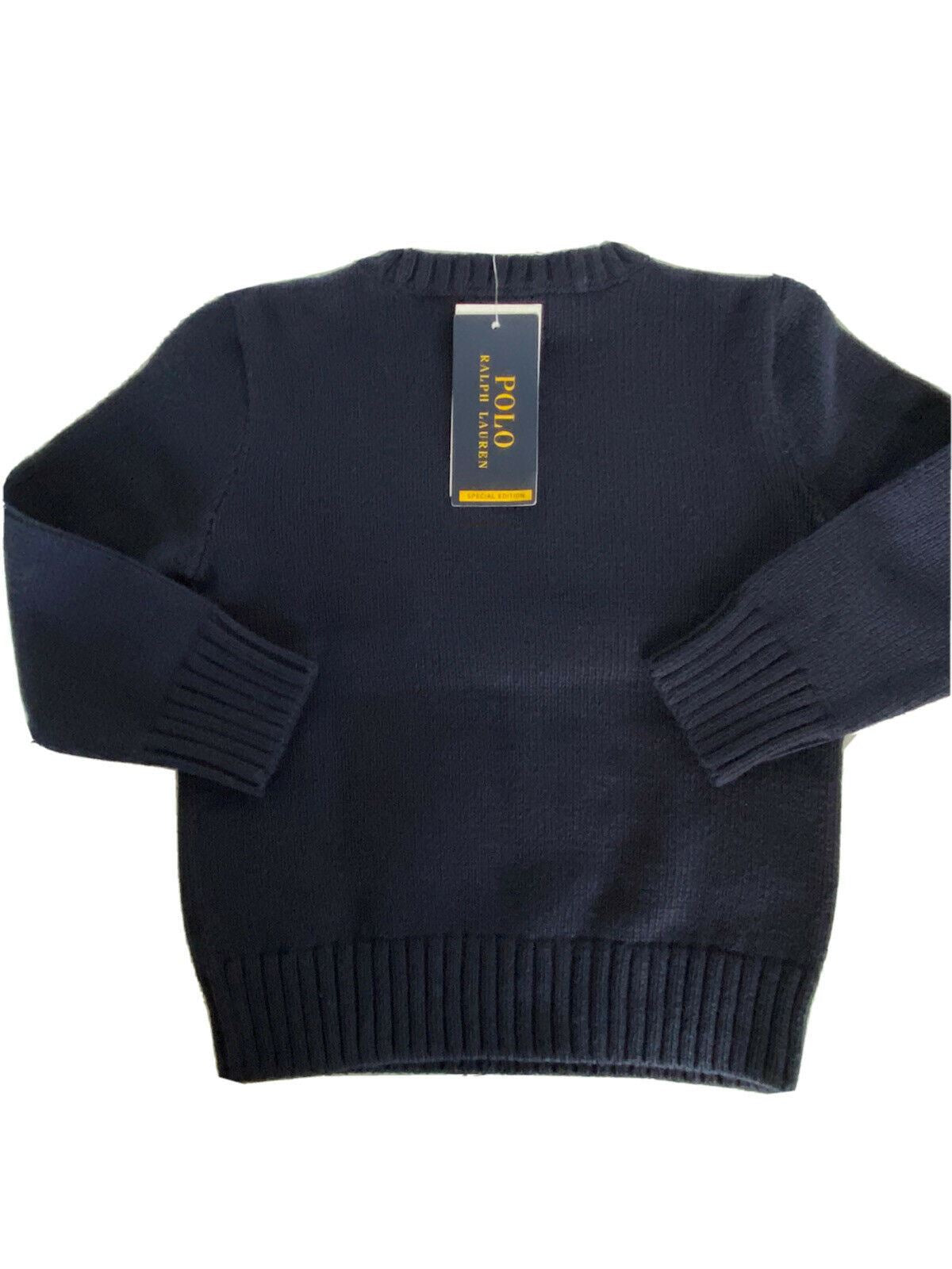 NWT $95 Polo Ralph Lauren Boys Bear Blue Cotton Sweater Size 4T