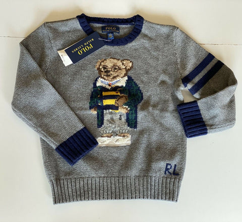 NWT $135 Polo Ralph Lauren Boys Bear Gray Cotton/Wool Sweater Size Large (14-16)