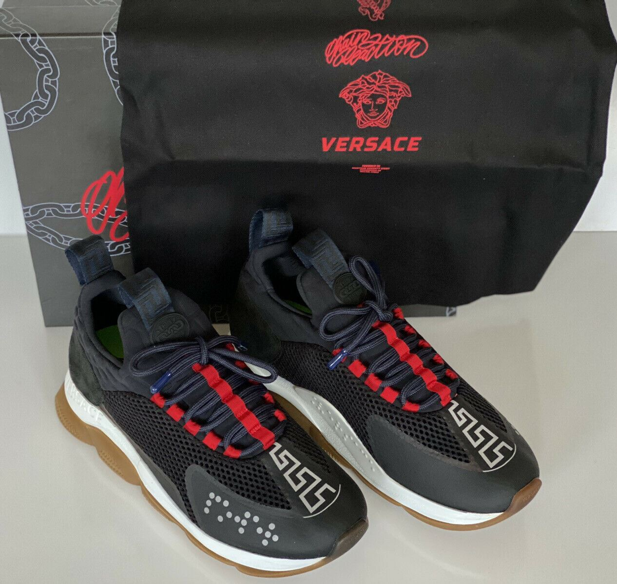 NIB Versace Black Chain Reaction Mens Sneakers 9.5 US (42.5 EU) Made in Italy