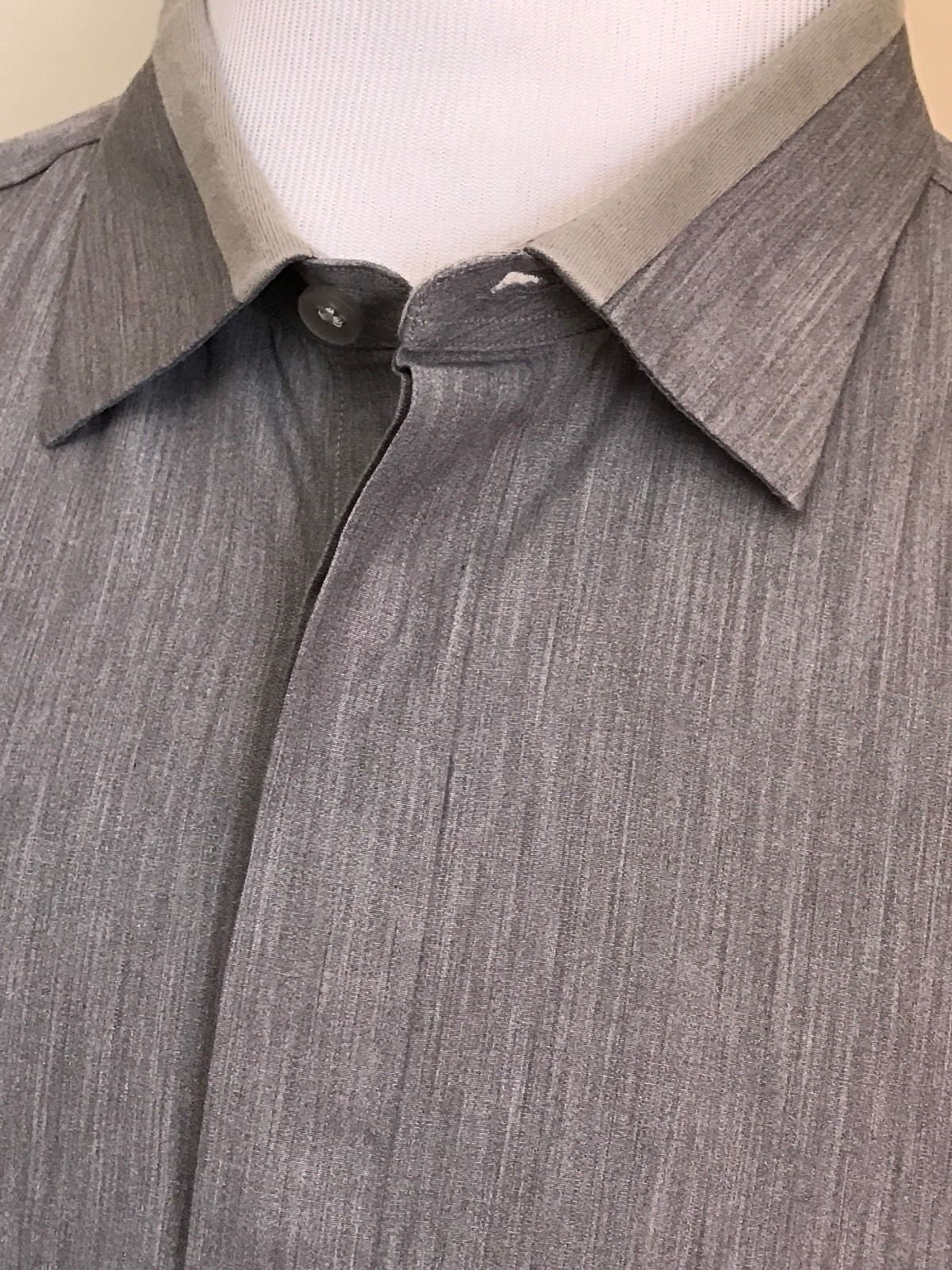 New Z Zegna  Dress Shirt  LT Gray Size 46/18 - BAYSUPERSTORE