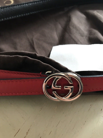 New $375 Gucci Women's Genuine Leather GG Belt Red Size 95/38 Italy
