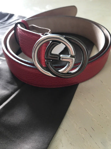 New $545 Gucci Women's Genuine Leather GG Belt Red Size 105/42 Italy