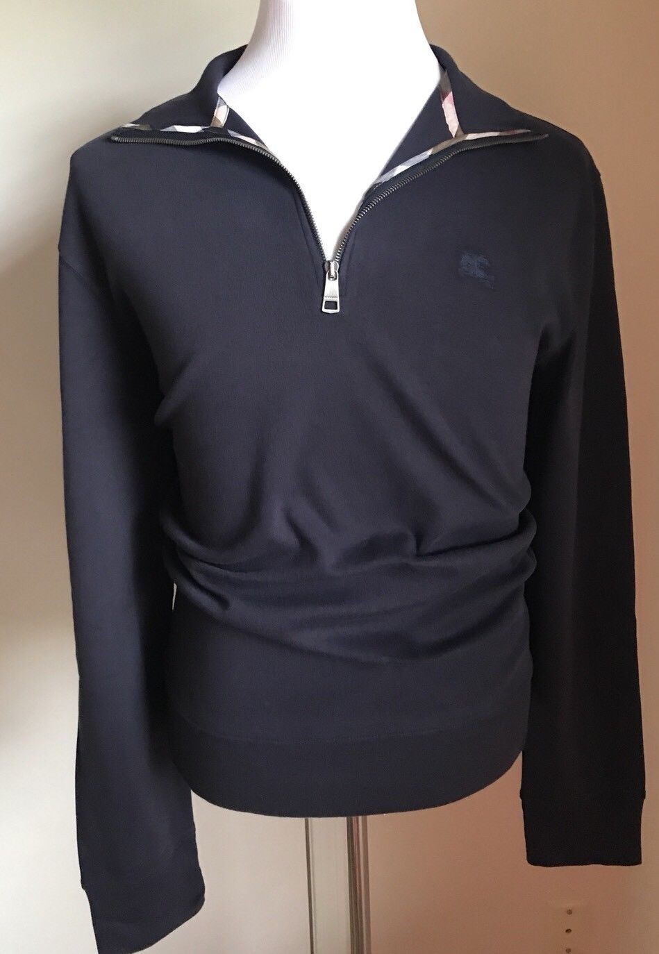 New Burberry Brit Mens Neck Zipper Sweater Dark Blue XL US - BAYSUPERSTORE